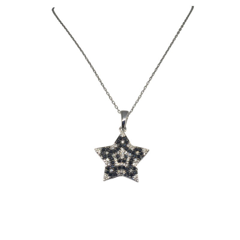 White Gold Star Shaped Pendant with White & Black Diamonds