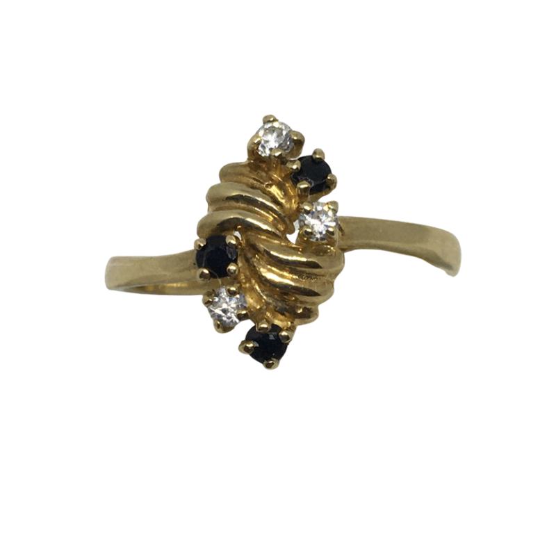 9ct Gold Dress Ring set with Dark Sapphire and Clear stones