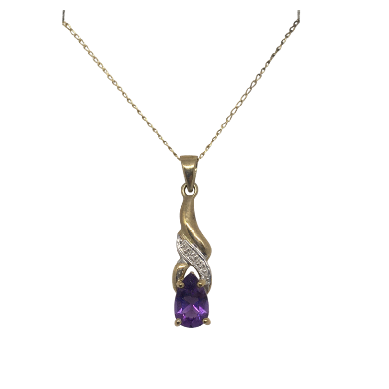 Gold Amethyst and Diamond set