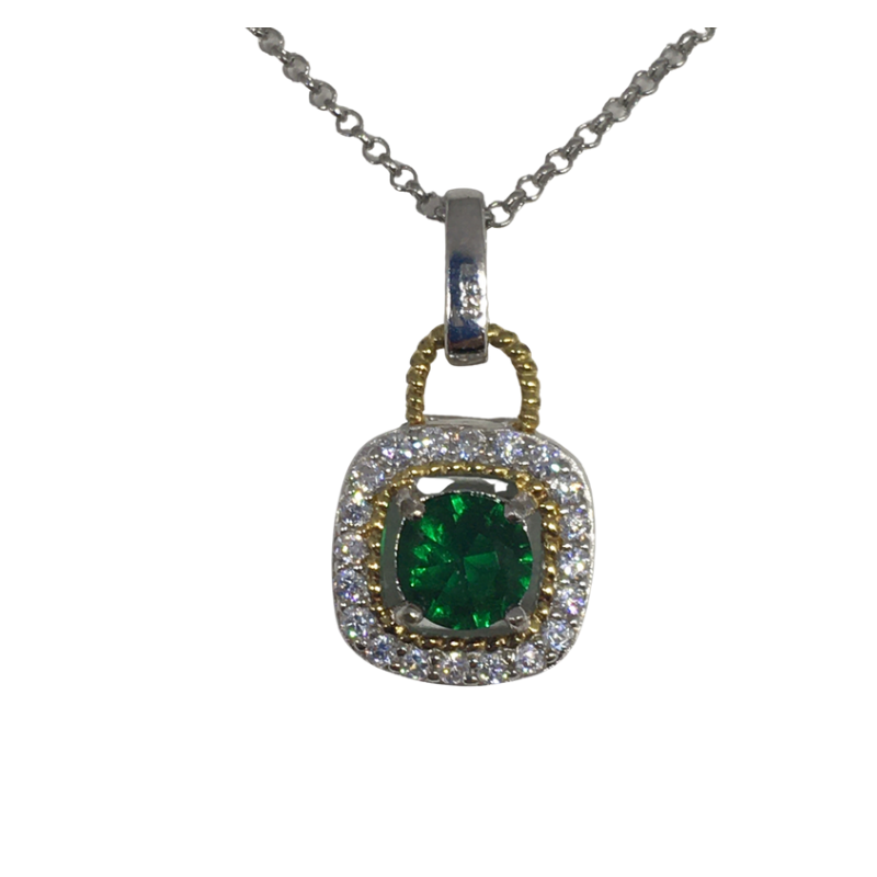 Sterling Silver square pendant with Emerald coloured stone