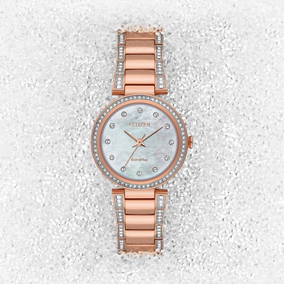Ladies Silhouette Crystal Watch Rose Gold