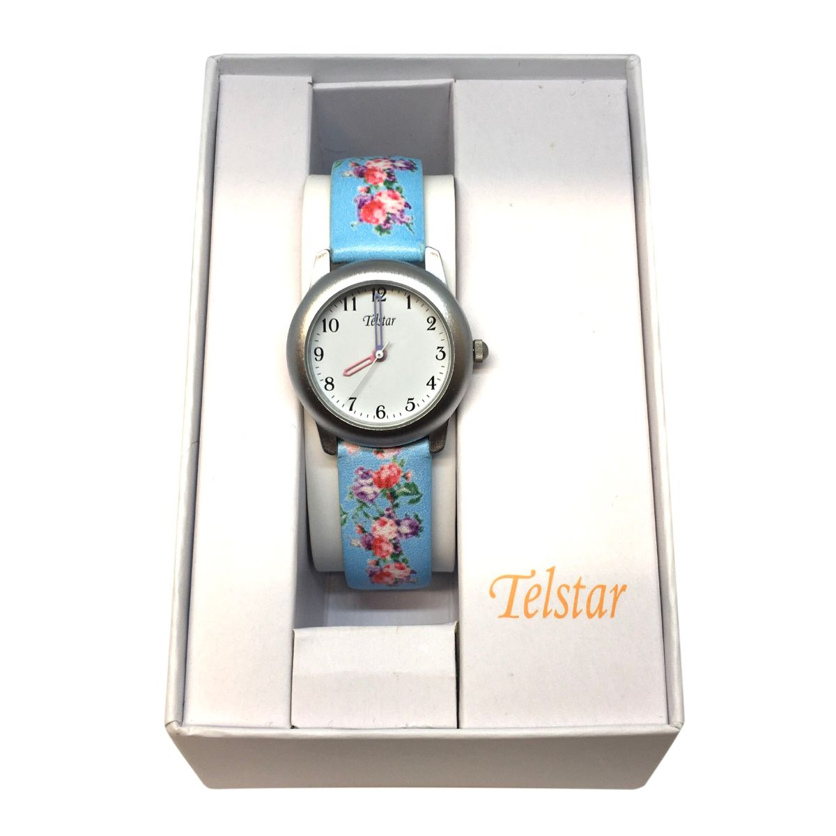 Telstar Watch With Floral Strap Design - Blue Colour - Gift Boxed