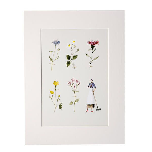 Wildflower Mounted Print - Lady Gardener