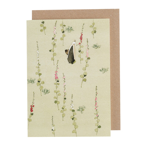 Greetings Card - Hollyhocks