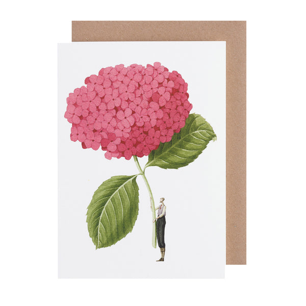 Greetings Card - Pink Hydrangea