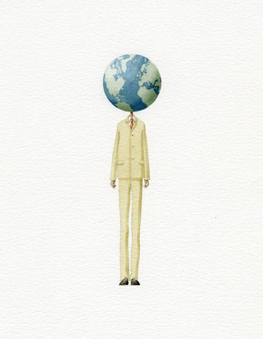 "Limited edition ""Globe Man"" mounted print"