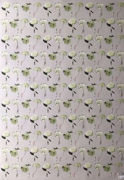 In Bloom Green Flowers Gift Wrap