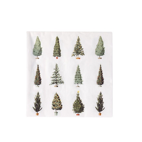 Happy Christmas Christmas Trees Paper Napkins