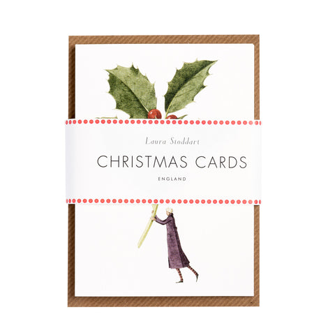 Christmas Cards ten pack - Holly and Mistletoe (pre-order -back in stock Friday 27th Nov)