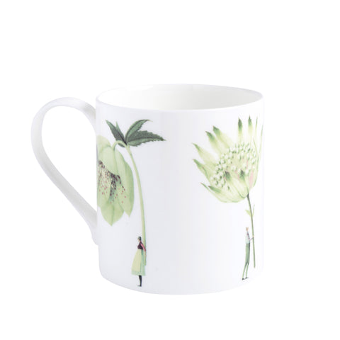 Bone China Mug - NEW Green Flowers