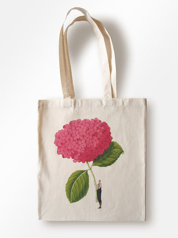 In Bloom - Pink Hydrangea Lightweight Cotton Tote (back in stock August)