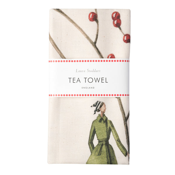 Red Berries Christmas Tea Towel