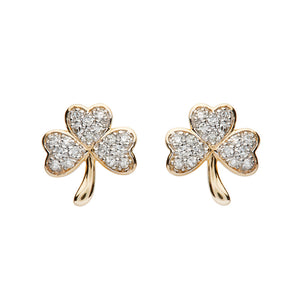 14kt Gold Shamrock Studded Earrings