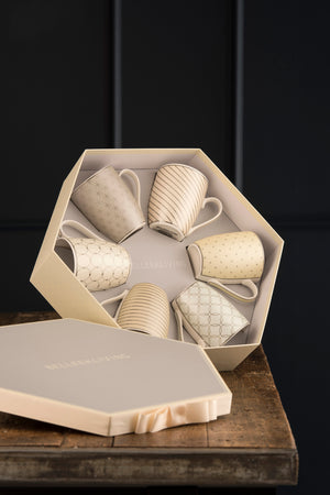 Geometric Pastles 6 Mugs Hexagon Box