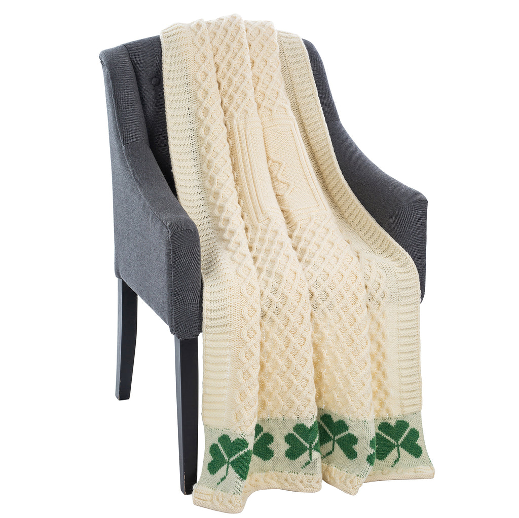 Irish Shamrock Wool Throw