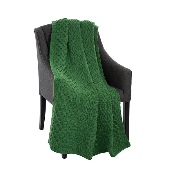 Dara Merino Wool Aran Throw - Green