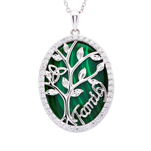 Tree of Life with Malachite/CZ Necklace