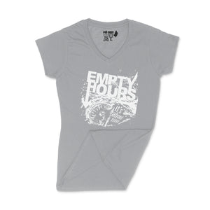Empty Hours It's About Time album cover Ladies V-Neck Shirt Small Grey/White