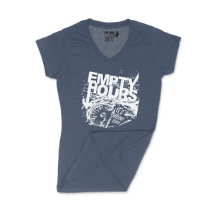 Empty Hours It's About Time album cover Ladies V-Neck Shirt Small Navy Blue/White