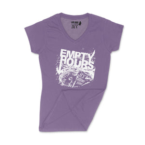 Empty Hours It's About Time album cover Ladies V-Neck Shirt Small Purple/White