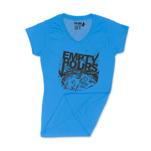 Empty Hours It's About Time album cover Ladies V-Neck Shirt Small Royal Blue/Black