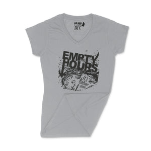 Empty Hours It's About Time album cover Ladies V-Neck Shirt Small Sport Grey/Black