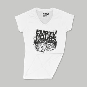 Empty Hours It's About Time album cover Ladies V-Neck Shirt Small White/Black