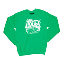 Load image into Gallery viewer, Empty Hours It's About Time album cover Sweatshirt Small Irish Green/White