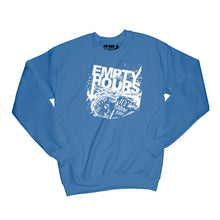Load image into Gallery viewer, Empty Hours It's About Time album cover Sweatshirt Small Royal Blue/White