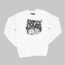 Load image into Gallery viewer, Empty Hours It's About Time album cover Sweatshirt Small White/Black