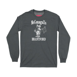 McGonagalls Pub Logo Long Sleeve T-Shirt Small Black/White
