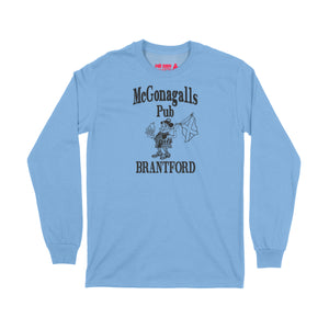 McGonagalls Pub Logo Long Sleeve T-Shirt Small Carolina Blue/Black