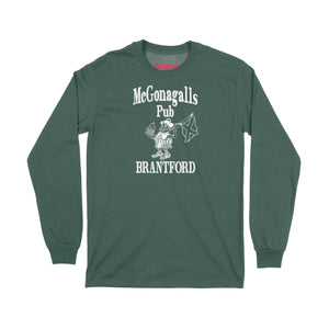 McGonagalls Pub Logo Long Sleeve T-Shirt Small Forest Green/White