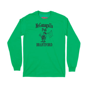 McGonagalls Pub Logo Long Sleeve T-Shirt Small Irish Green/Black