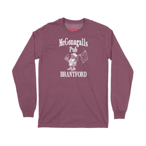 McGonagalls Pub Logo Long Sleeve T-Shirt Small Maroon/White