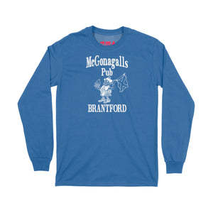 McGonagalls Pub Logo Long Sleeve T-Shirt Small Royal Blue/White