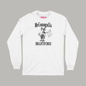 McGonagalls Pub Logo Long Sleeve T-Shirt Small White/Black