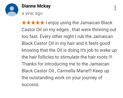 google review of carmella marie products for thining edges