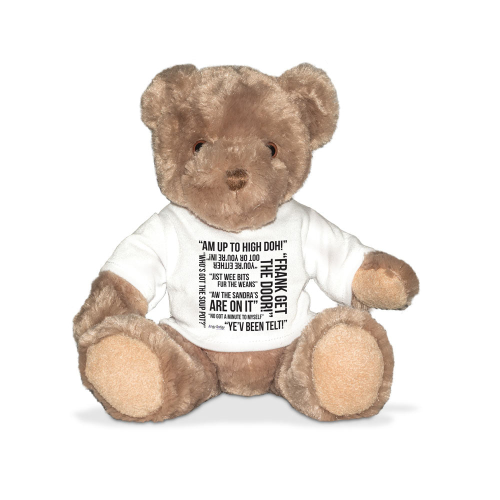 Janey Godley banter teddy bear with tee