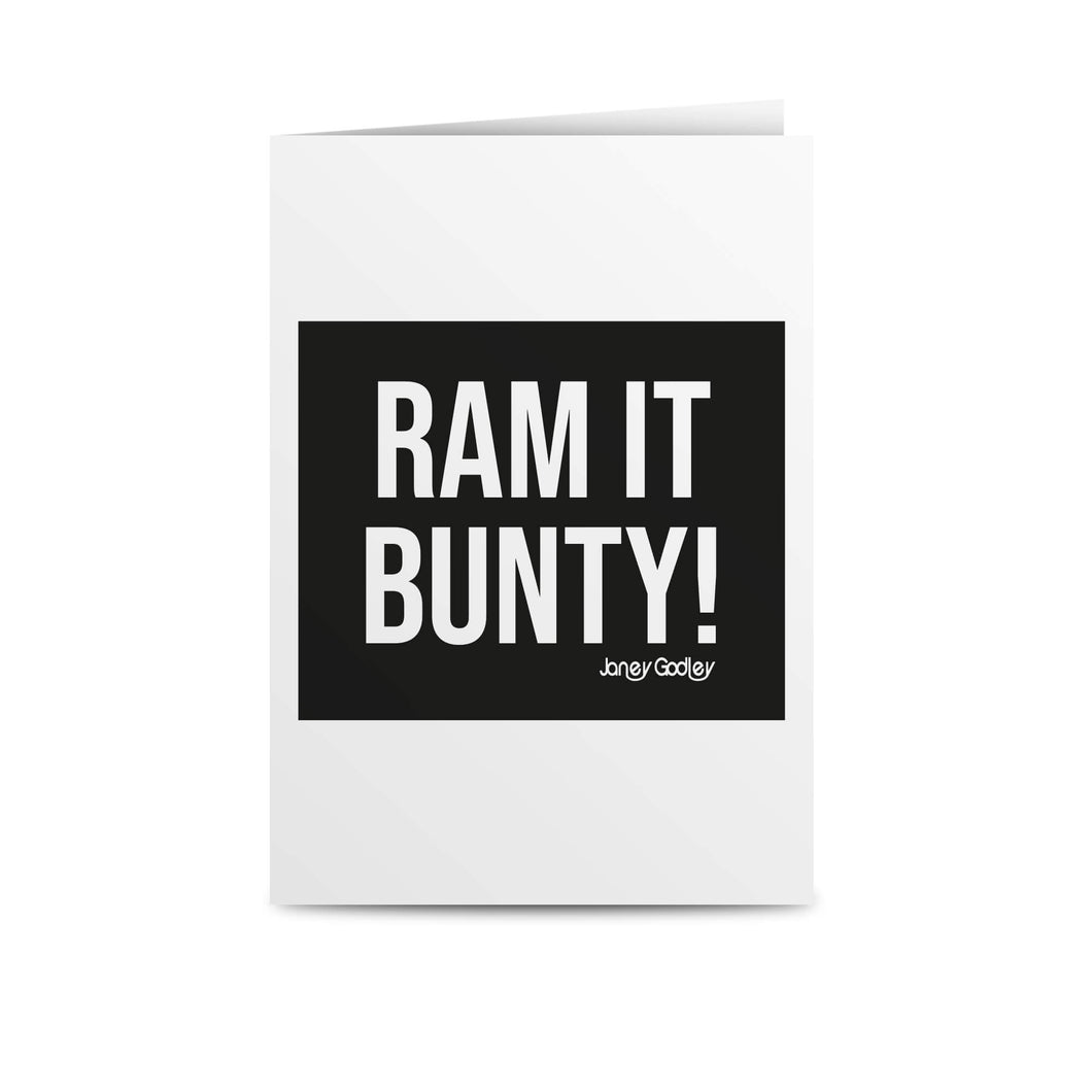 janey godley ram it bunty greetings card