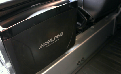 Closeup of SWE-1200 Subwoofer in Landrover Defender