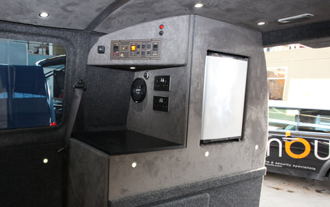 vw t5 transporter camper conversion fridge and power