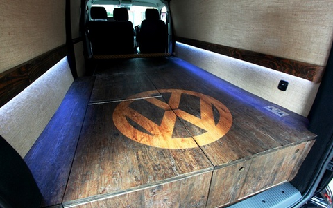 VW T5 rear false floor VW logo and strip lights