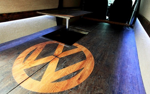 VW T5 rear false floor with table