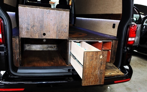 VW T5 false floor rear storage area