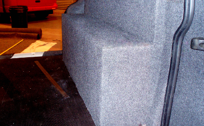 Carpeted T4 wheel arch cover