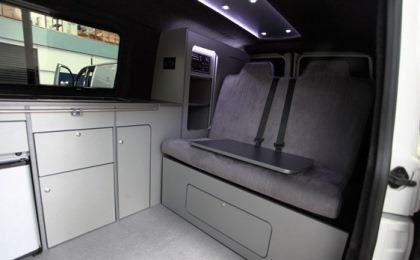 VW T5 Transporter Camper Conversion Inside Bed Up