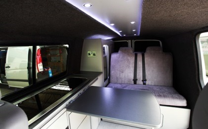 VW T5 Transporter Camper Conversion Inside Bed Up Shot 2