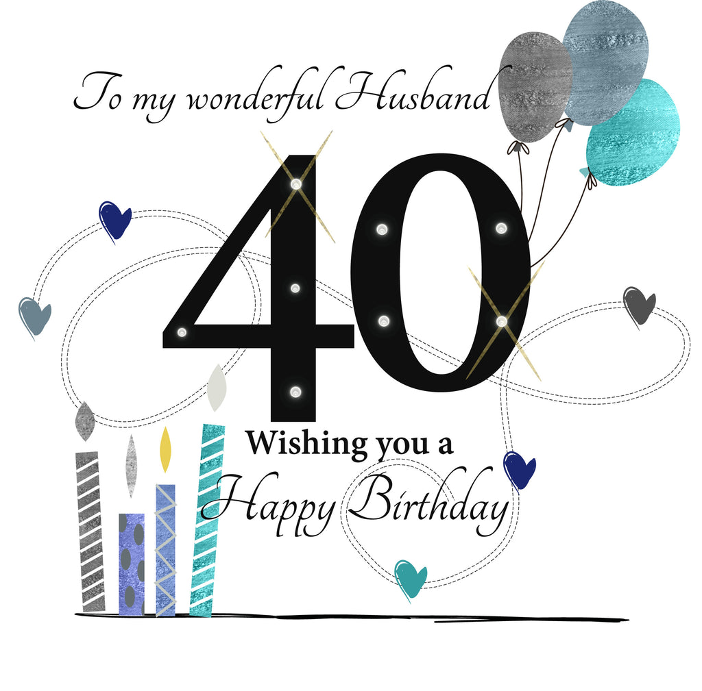 Husband Happy 40th Birthday card RUSH DESIGN – Husband 40th Birthday Card