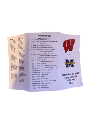 A.J. Taylor Wisconsin Team Schedule vs. Michigan (September 21, 2019)